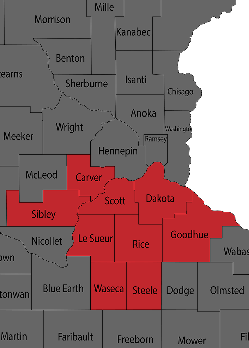 MN County Map of Service Area
